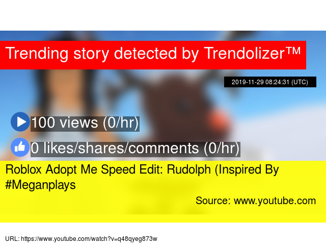 Roblox Adopt Me Speed Edit Rudolph Inspired By Meganplays